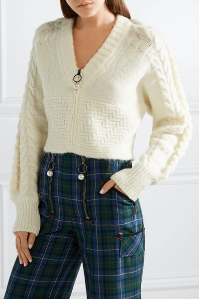 Cropped Cable-Knit Wool-Blend Cardigan