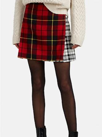 Patchwork Plaid Wool Mini-Kilt