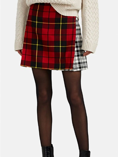 Patchwork Plaid Wool Mini-Kilt