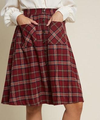 Encouraging Outlook Flannel Skirt
