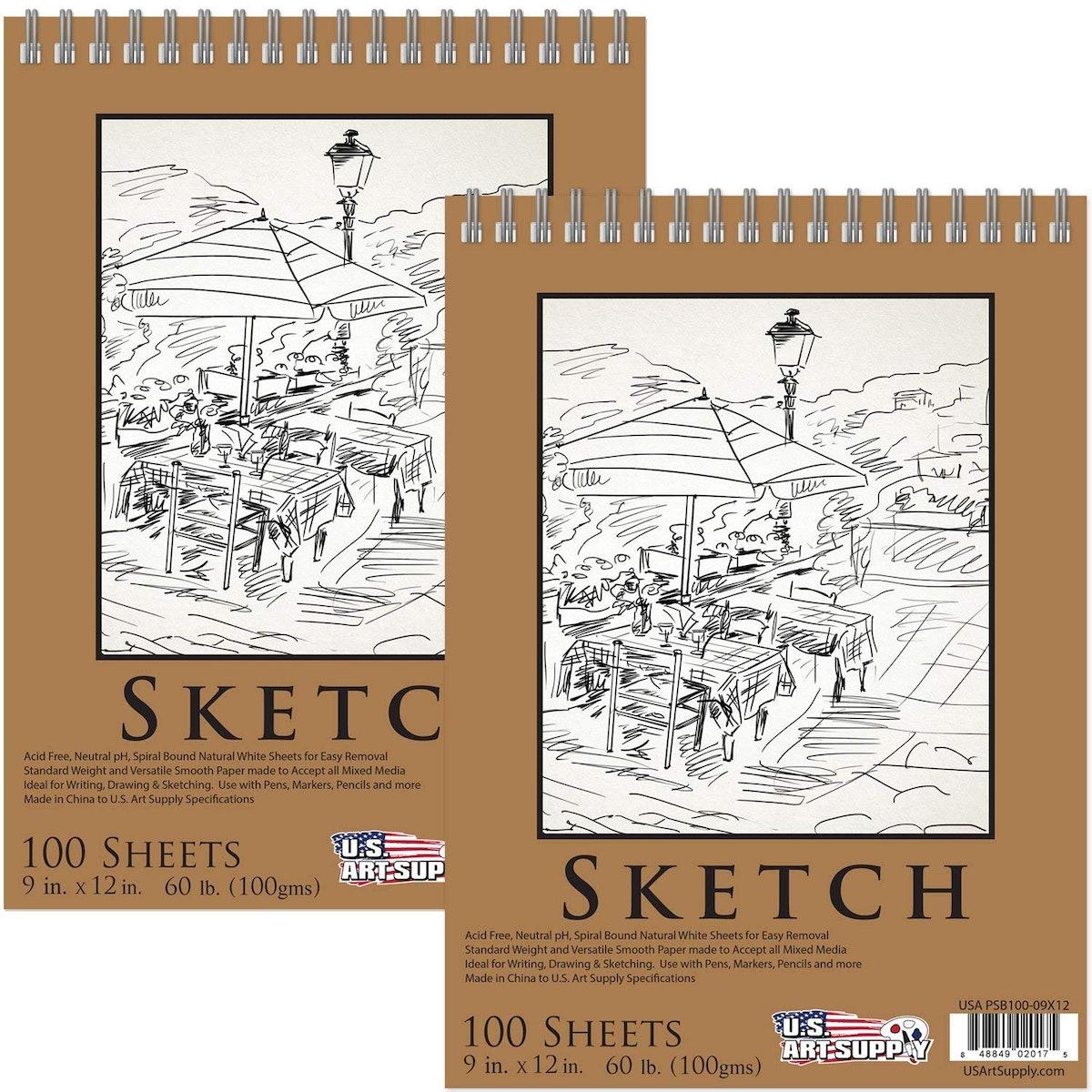 """U.S. Art Supply 9"""" x 12"""" Premium Spiral Bound Sketch Pad"""