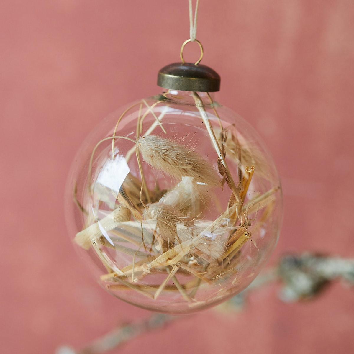 Hay Filled Globe Ornament