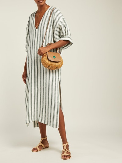 Livietta Striped Linen-Blend Kaftan