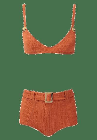 Magdalena Terracotta Belted High-Waist Bikini