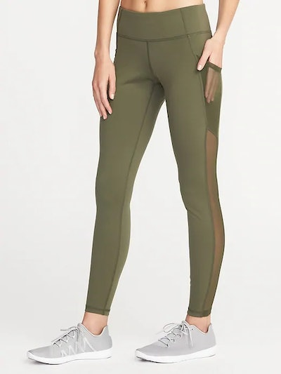 Mid-Rise Mesh-Pocket Compression Leggings for Women