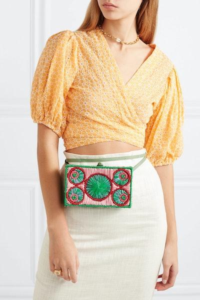 Mia Leather-Trimmed Raffia Belt Bag