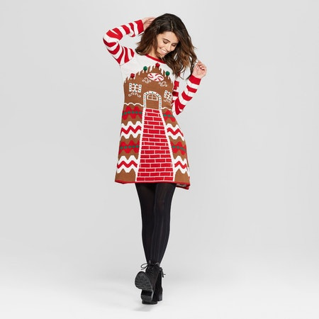 Ugly Christmas Gingerbread House Dress