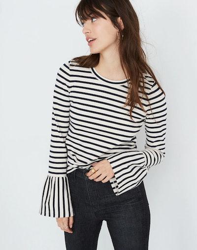 Stripe-Play Ruffle-Cuff Top
