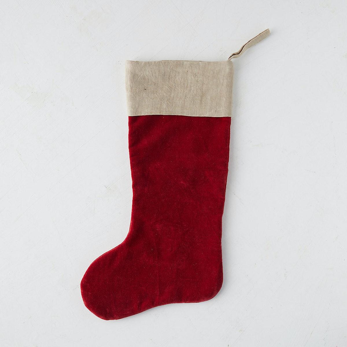 Velvet + Linen Stocking