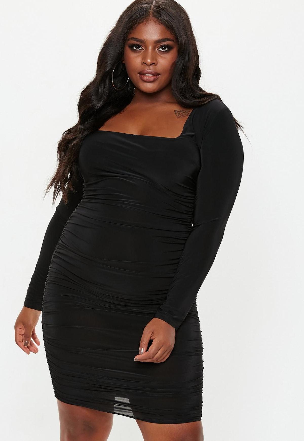plus size black square neck midi dress