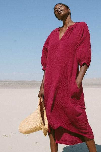 Burgundy Cotton Gauze Dress With Pockets