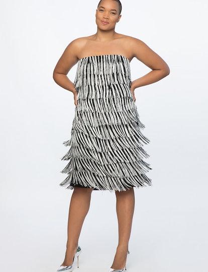 Fringe Strapless Dress