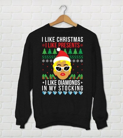 "Unisex Cardi B Christmas Sweater ""I Like Christmas, I Like Presents, I Like Diamonds In My Stocking"""