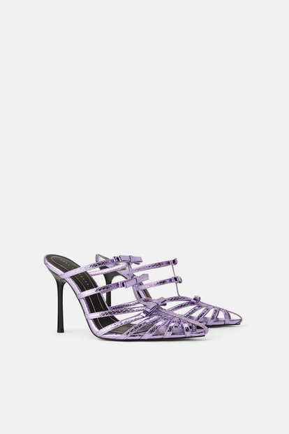 LILAC POINTED HIGH HEELED SANDALS