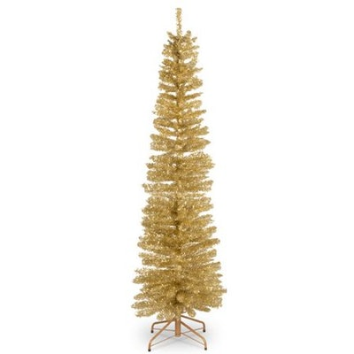 National Tree Co. Tinsel Trees 6' Champagne Tree Artificial Christmas Unlit with Stand