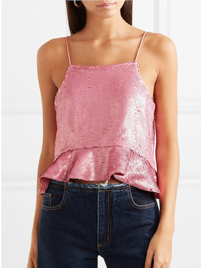 Sonora Ruffled Sequined Satin Camisole