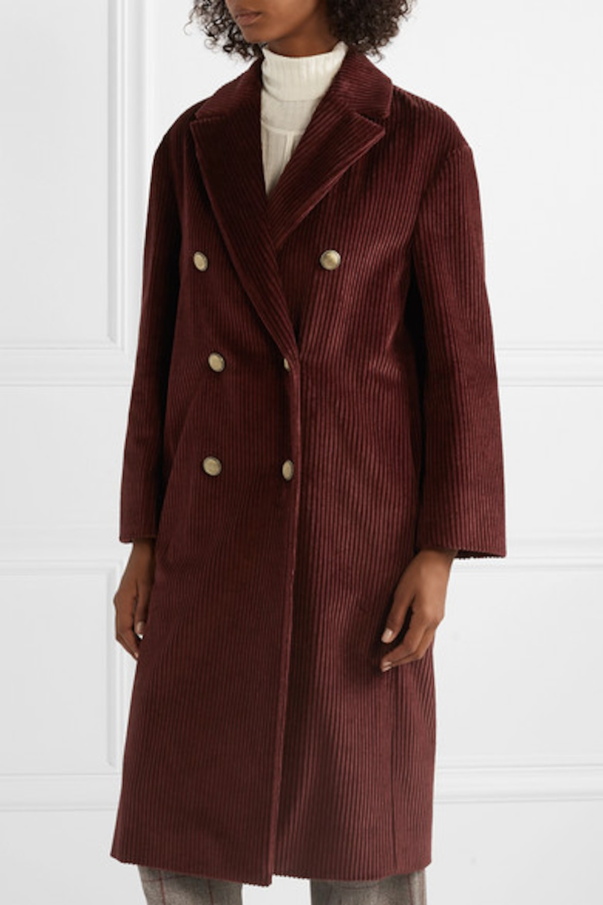 Double-Breasted Cotton-Corduroy Coat