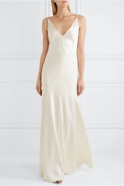 Louise Herringbone Silk-Jacquard Gown