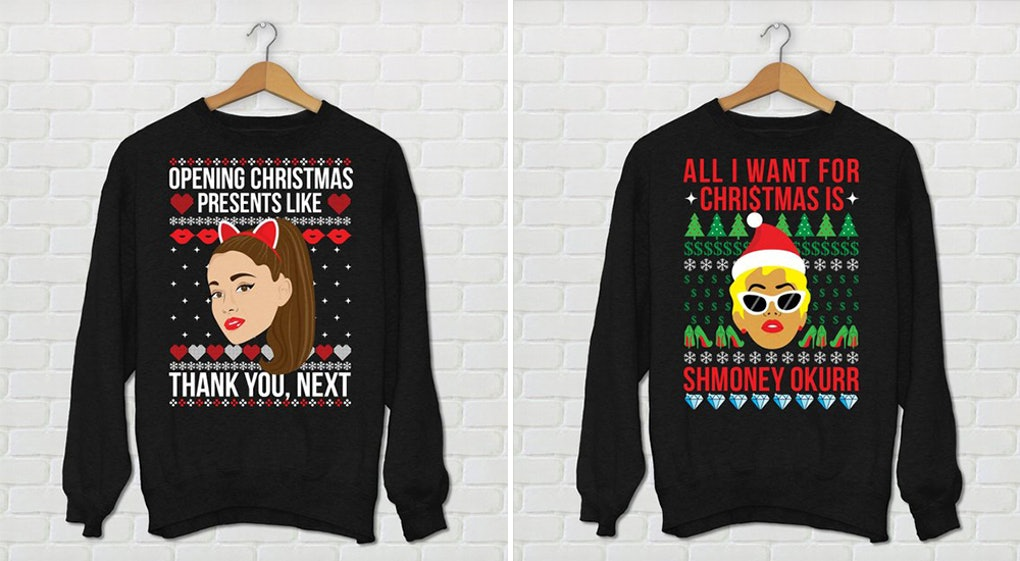 These Ariana Grande Cardi B Ugly Holiday Sweaters Have Me Saying