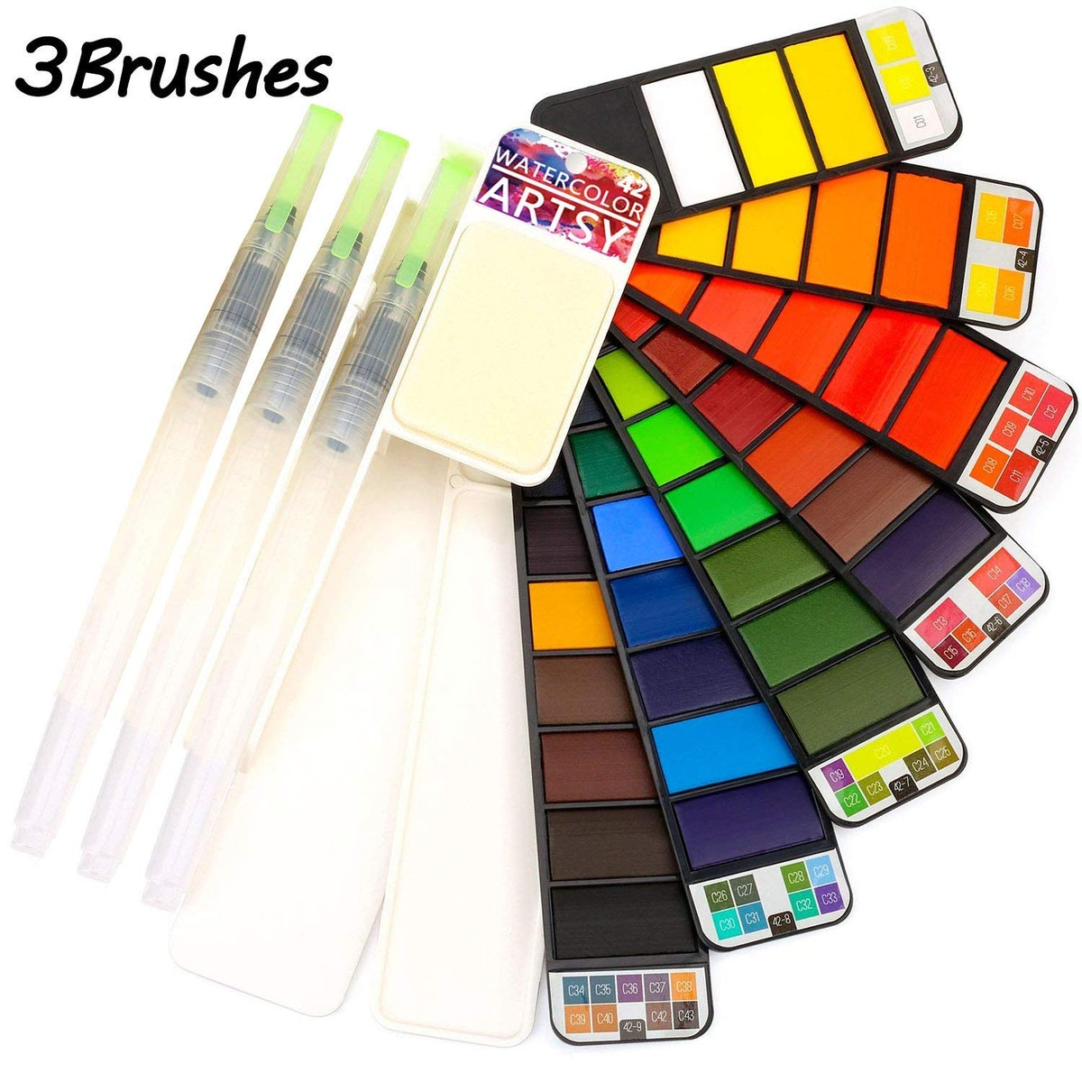 Artsy Watercolor Paint Set – 42 Assorted Colors with 3 Brushes