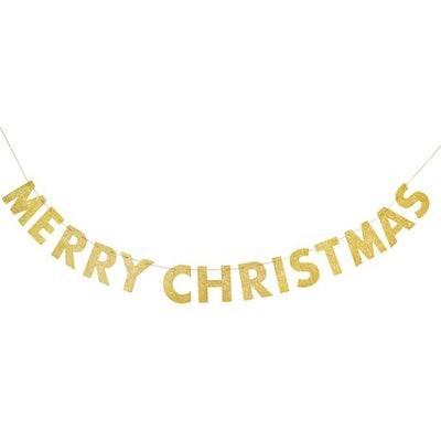 Glitter Merry Christmas Banner, 9ft, Gold, 1ct