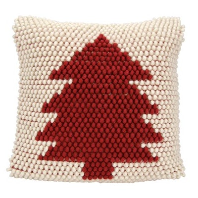 """Nourison Home For The Holiday Christmas Tree Loops Decorative Throw Pillow, 20"""" x 20"""", Ivory Red"""