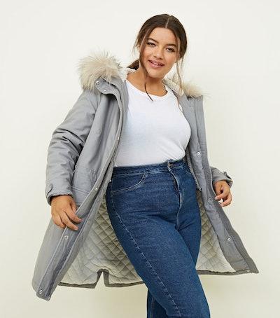 Curves Pale Grey Faux Fur Hooded Parka Jacket