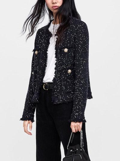 Tweed Jacket With Sequins