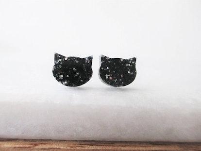 Black Cat Glitter Earrings