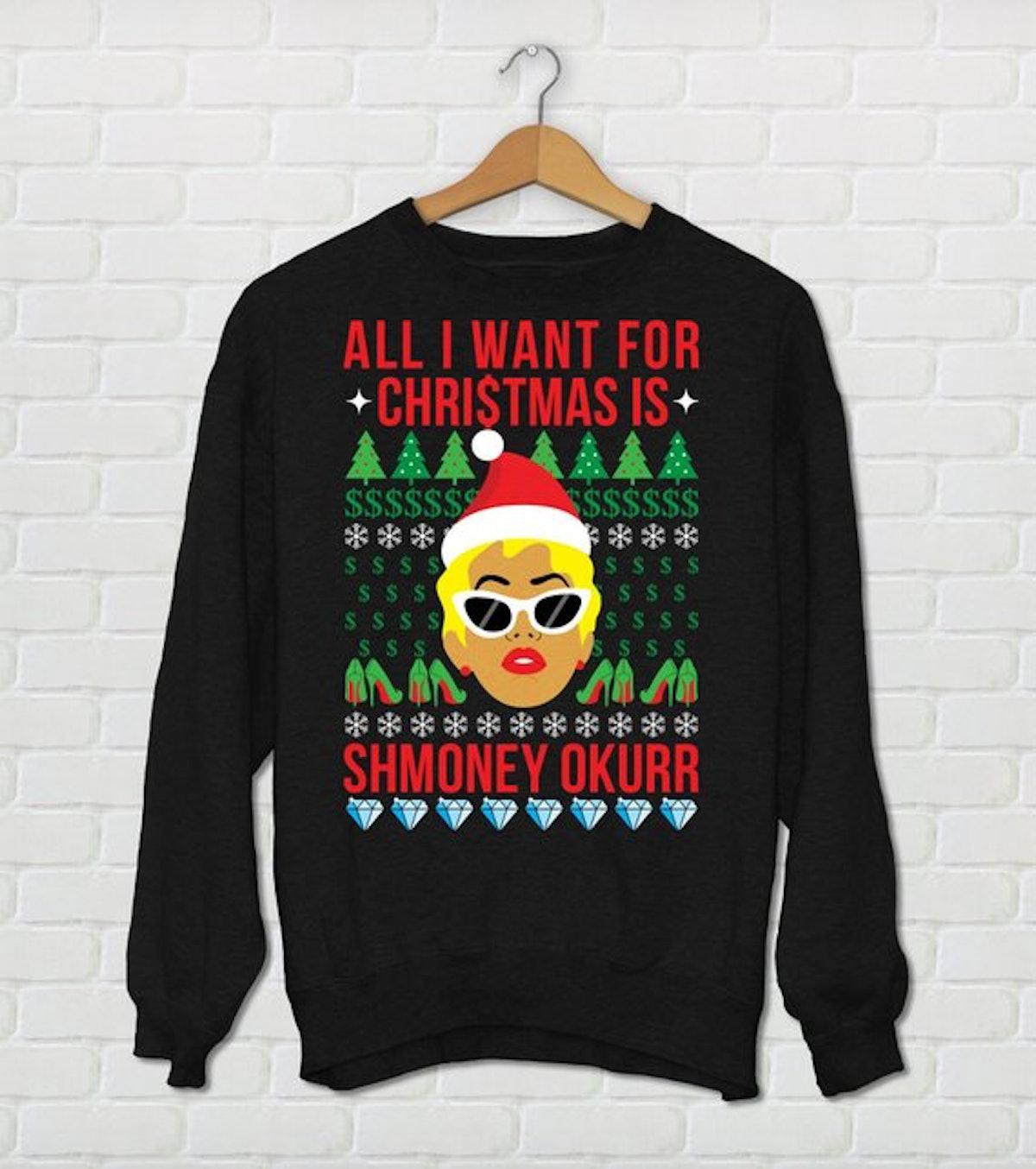 "Unisex Cardi B Christmas Sweater All I Want For Christmas Is Smoney Okurr"" Cardi B Holiday Sweater"