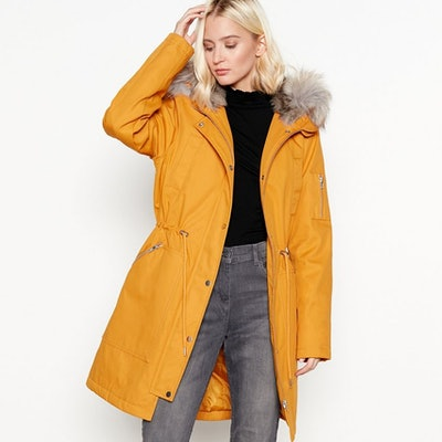 The Collection Mustard Yellow Faux Fur Lined Parka