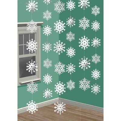 Amscan Winter Wonderland Christmas 3-D Snowflake Hanging Party Decoration (Pack Of 1), White, 14 1/4...