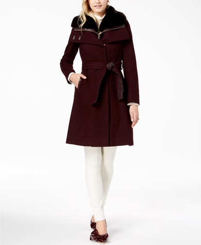 Faux Fur Collar Belted Wool Coat With Bib