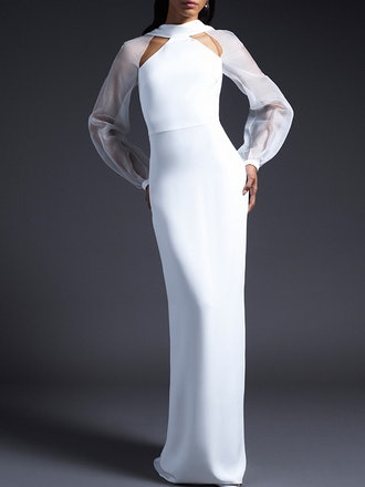 Sophie Silk Gown With Open Back And Organza Sleeves