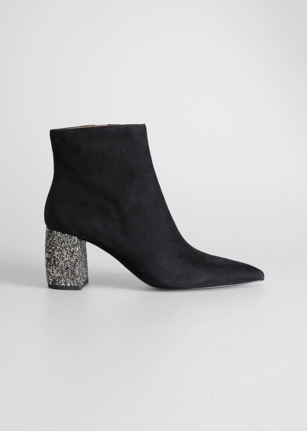 Rhinestone Heel Suede Ankle Boots