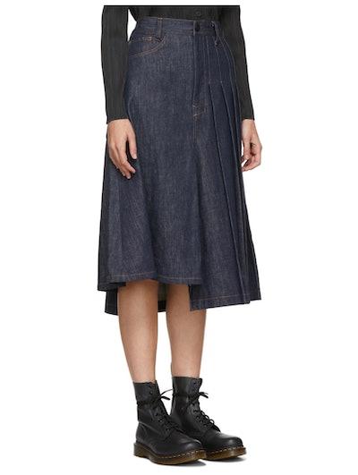 Indigo Asymmetric Pleated Denim Skirt