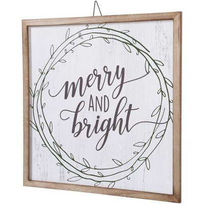 Belham Living Hanging Decor, White with Merry and Bright Text
