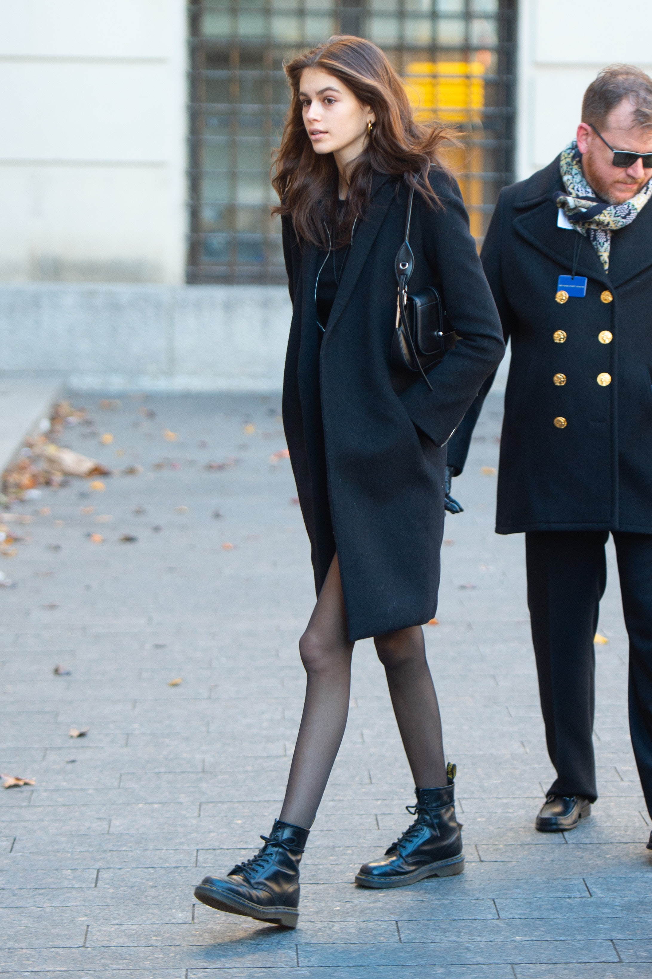 6373fa0a30e7 Kaia Gerber's Black Combat Boots Are Equal Parts Stylish & Practical For  Winter