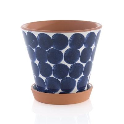 Jenes Shibori Flower Pot, Blue