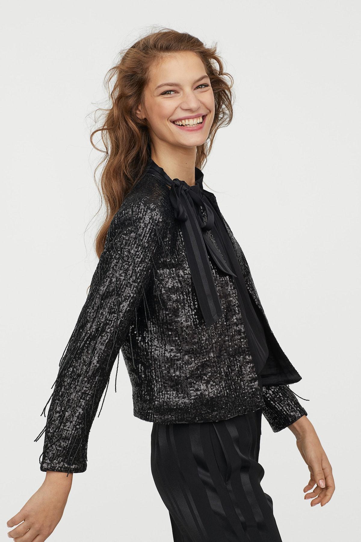 Sequined bead-fringed jacket
