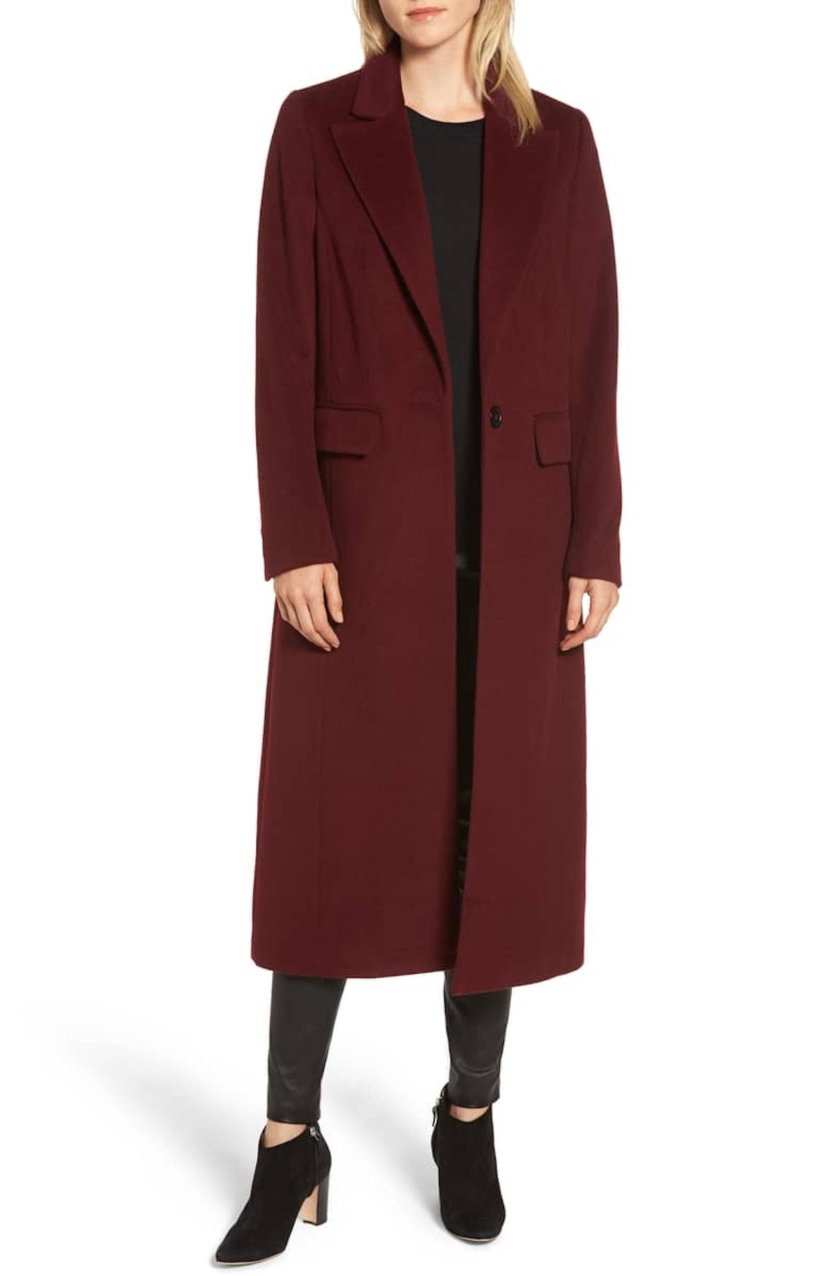 Wool Blend Menswear Coat