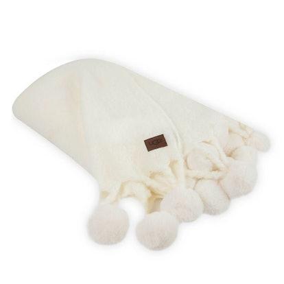 UGG Cabrillo Pom Pom Throw Blanket in Snow