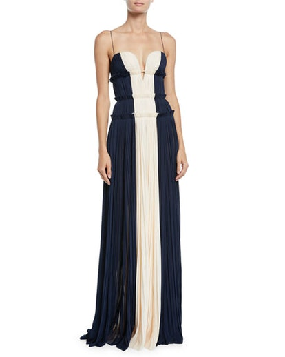 Strappy Sweetheart Two-Tone Silk Gown