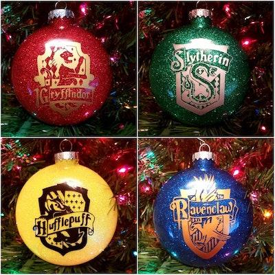 Hogwarts House Inspired Glitter Ornaments