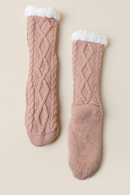 Francesca's Closet Meghan Infused Cable Knit Slipper Socks