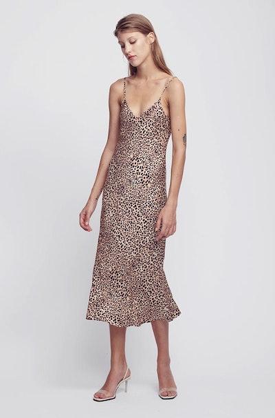 90s Leopard Silk Slip Dress