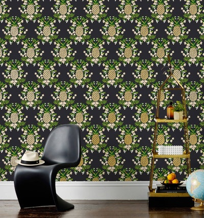 Pineapple (Ebony) Wallpaper (30 foot roll)
