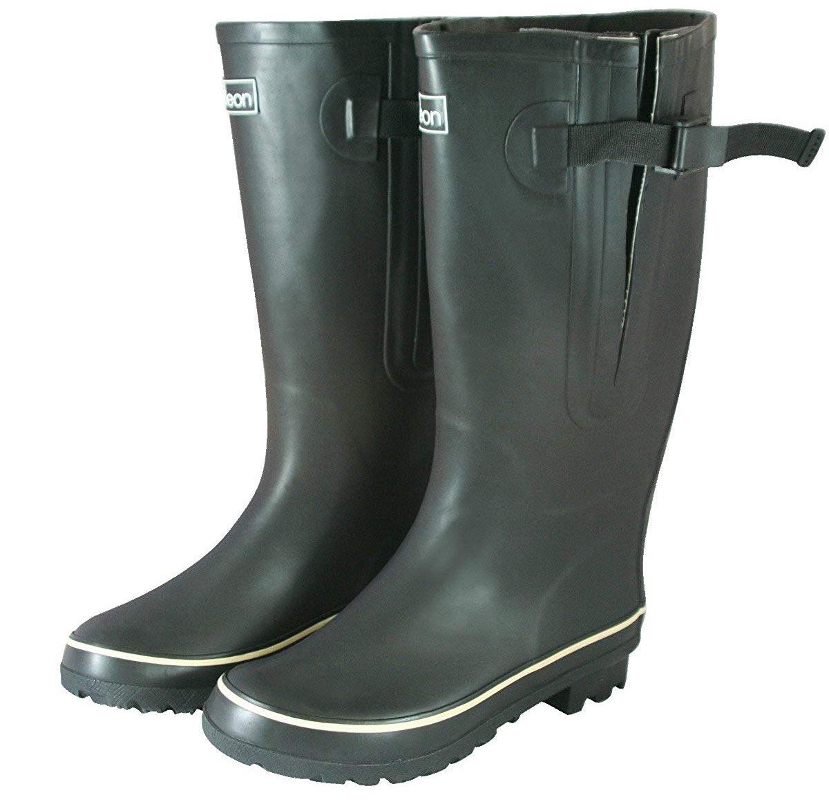 Jileon Extra-Wide Rubber Rain Boots