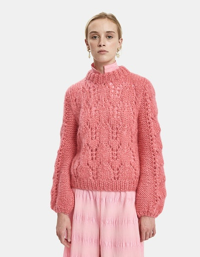 GANNI Julliard Mohair Open Knit Sweater in Hot Pink