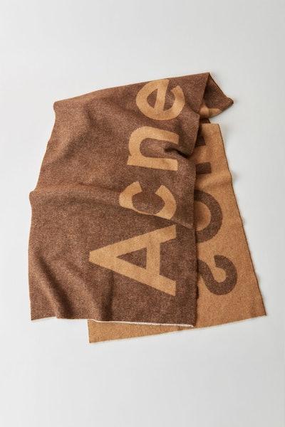 Logo Scarf Brown